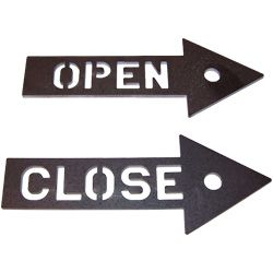 laser cut shop signs - open and close